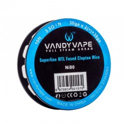 VandyVape Ni80 Superfine MTL Fused Clapton Wire 30ga*2+38ga - 10ft - 3.5ohm/ft